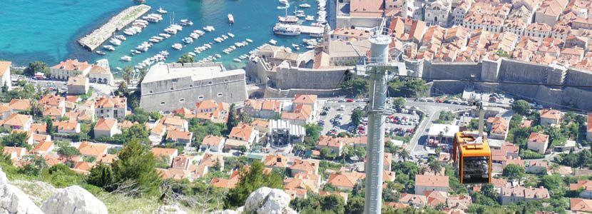 Shows Dubrovnik city walls from above