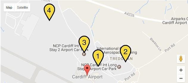 NCP Cardiff Airport car park locations