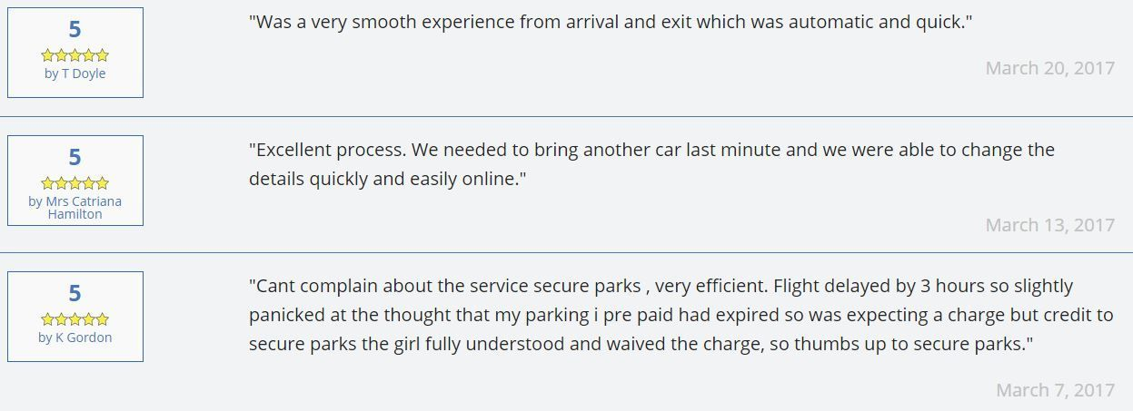 Airport parking reviews example