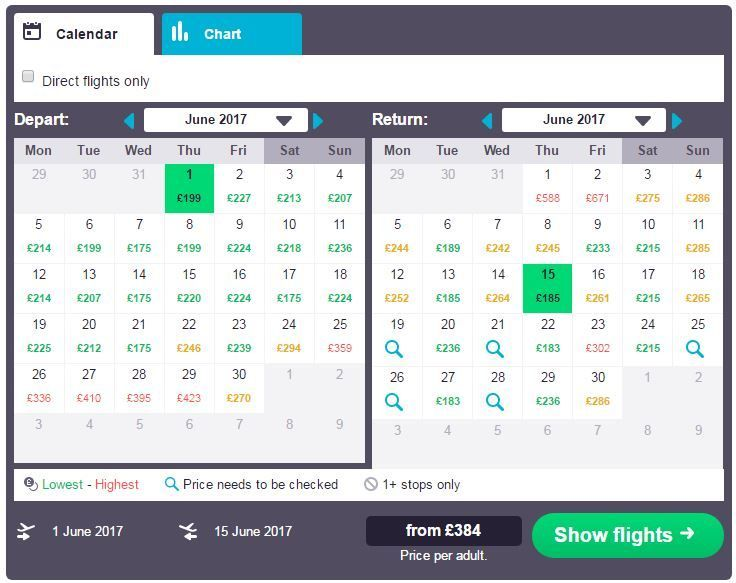 Shows the Skyscanner calendar view - How to find low cost flights