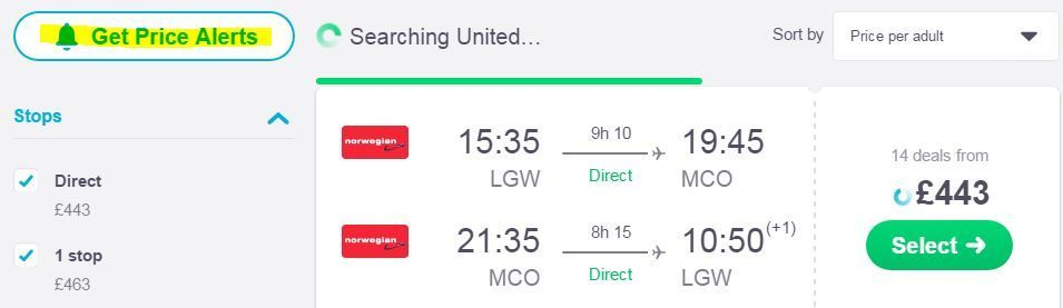Shows a Skyscanner search - How to find cheap flights from the UK