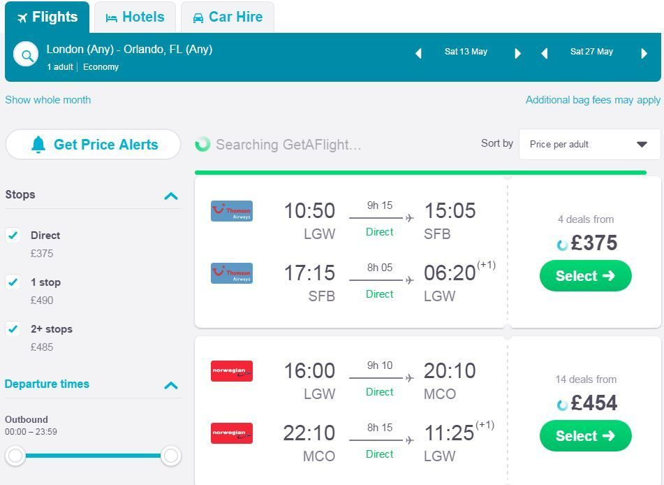 How to find cheap flights from the UK - Shows a Skyscanner results list