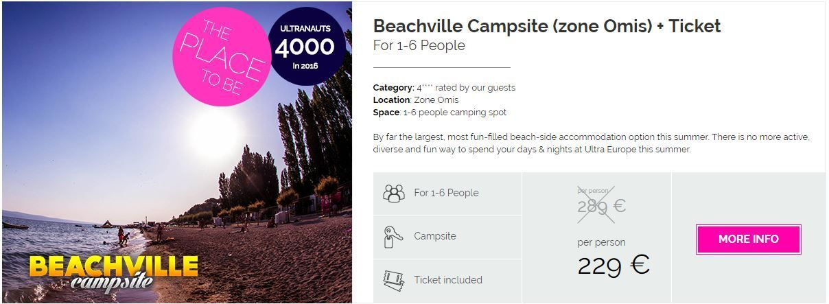 Travel 2 Ultra booking package - Ultra campsite - Beachville