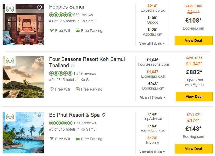 Tripadvisor hotel search results preview - how to find cheap hotel prices