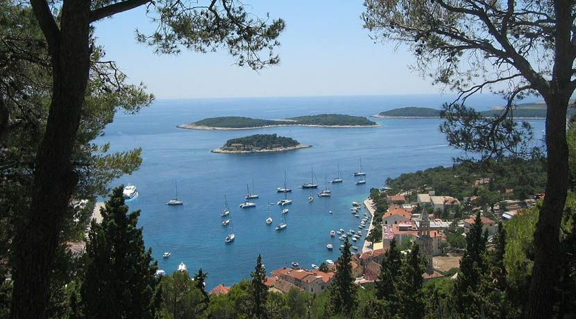 Shows a scenic view of Hvar island