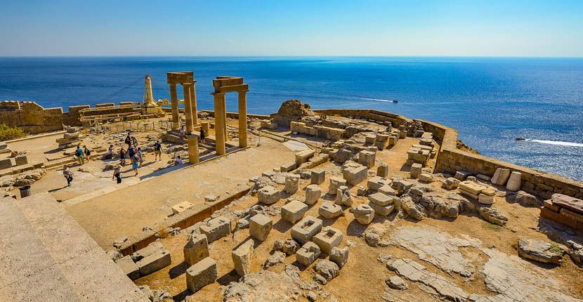 Shows the mighty Acropolis ruins of Rhodes in Lindos