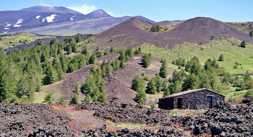 Shows the countryside views of Mount Etna