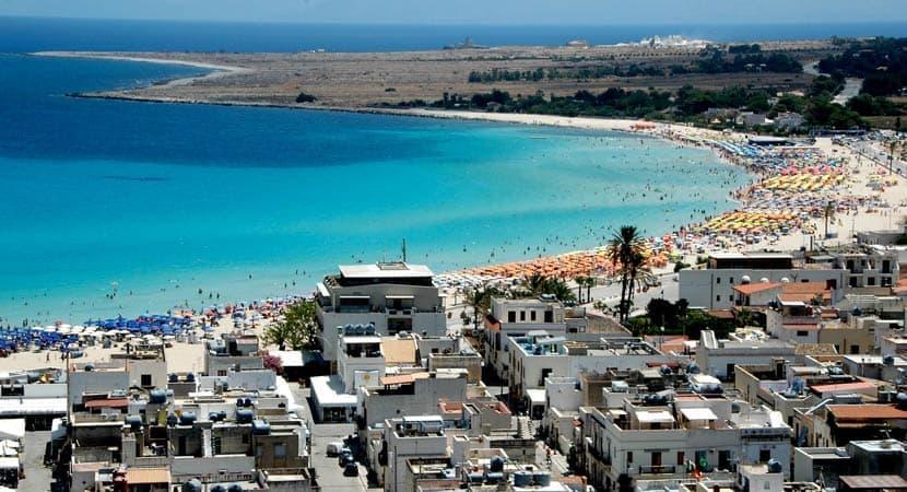 Shows the beach resort San Vito Lo Capo from above
