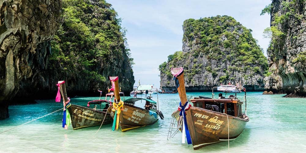 Koh Phi Phi longtail boats - Best Thailand islands