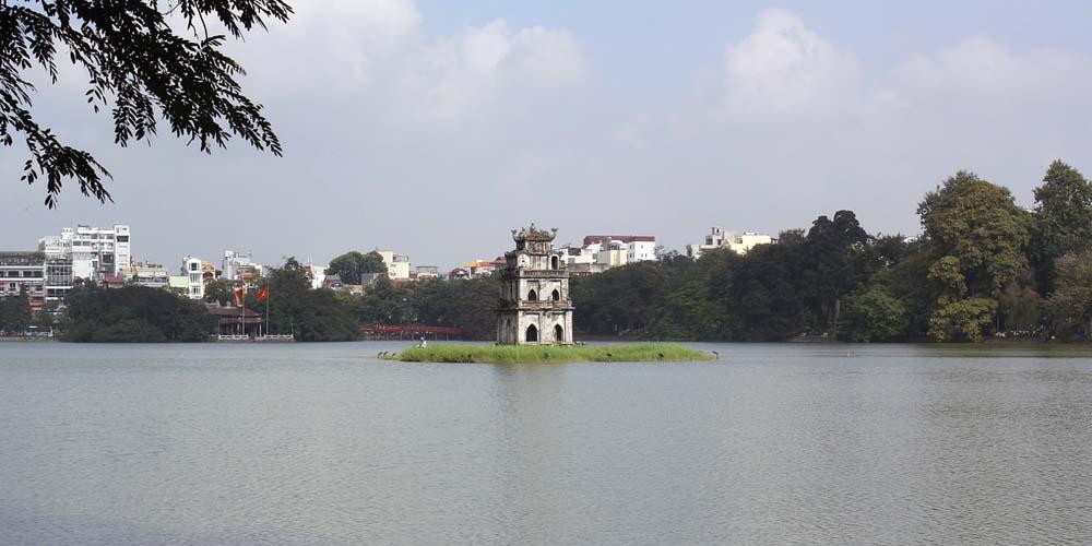 two day Hanoi itinerary - shows Hoan Kiem lake