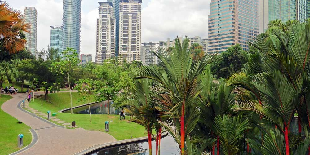 Shows KLCC Park in Kuala Lumpur - Malaysia 2 week itinerary ideas