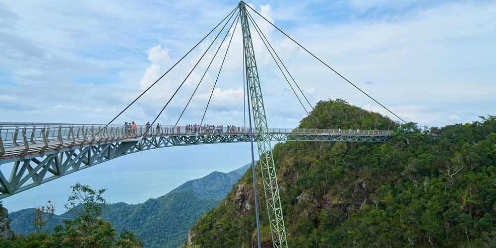 Shows Langkawi's suspension bridge - 2 week Malaysia itinerary