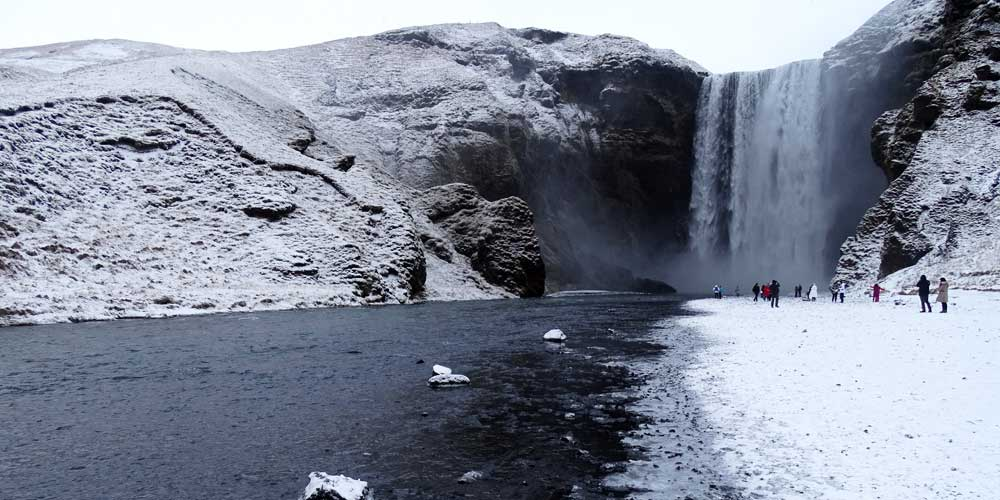 Shows Skogafoss Waterfall in southern Iceland