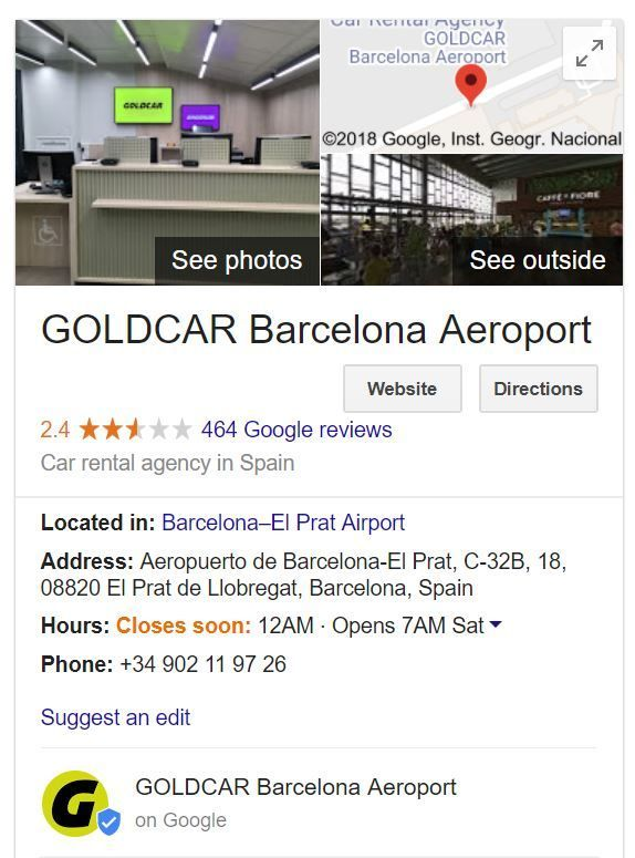Car rental company Google reviews
