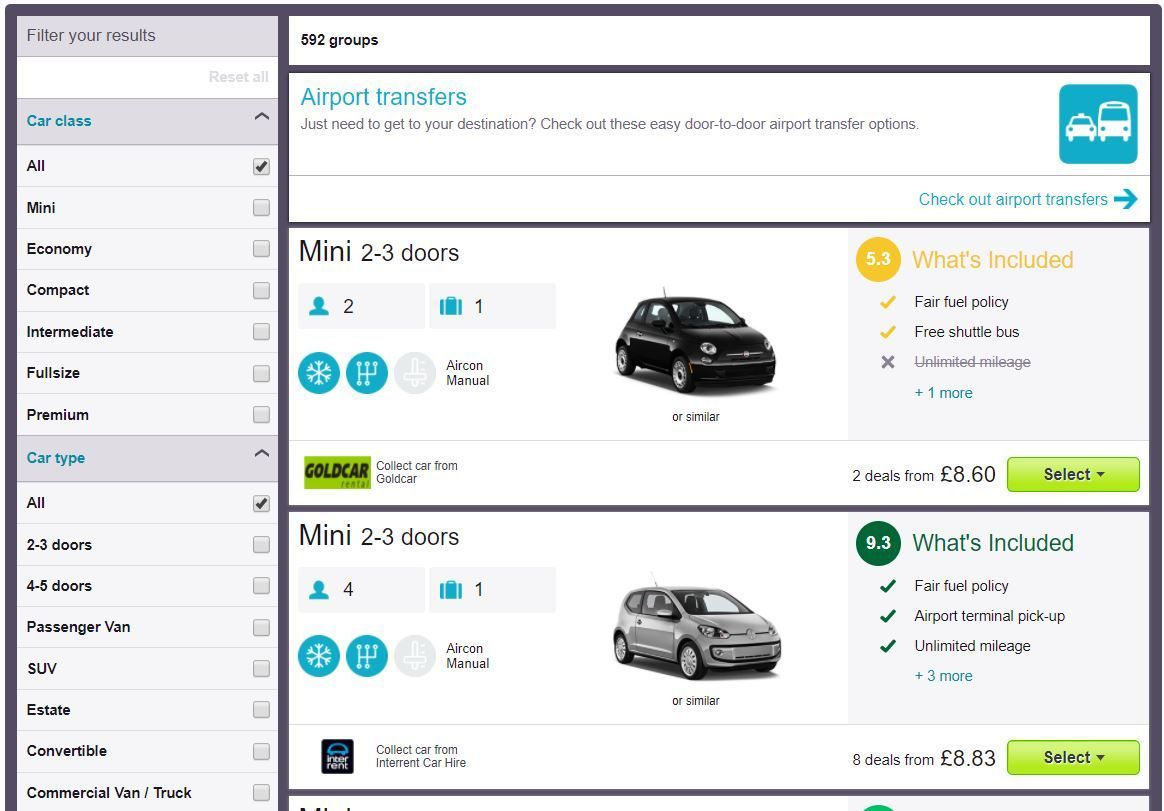Skyscanner car rental search results - Cheap car hire