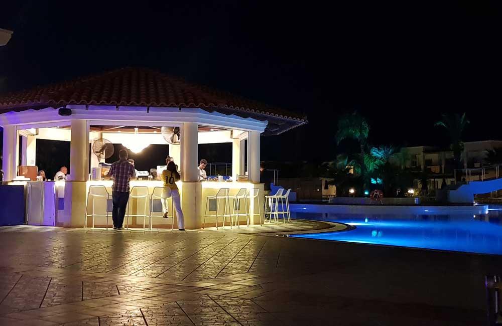 Lindos Princess Beach Hotel pool bar at night