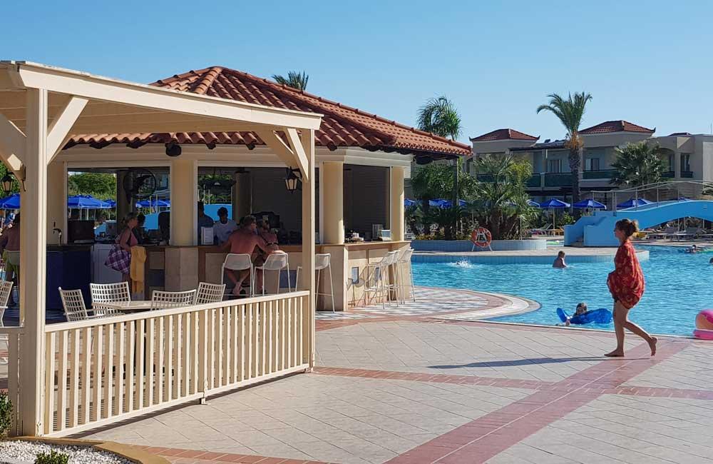 Shows the Lindos Princess Pool bar