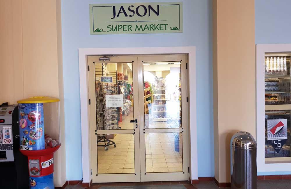 Shows the on-site supermarket - Jason