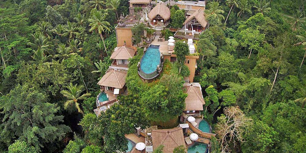 Kayon resort hotel Ubud - Shows the hotel from above