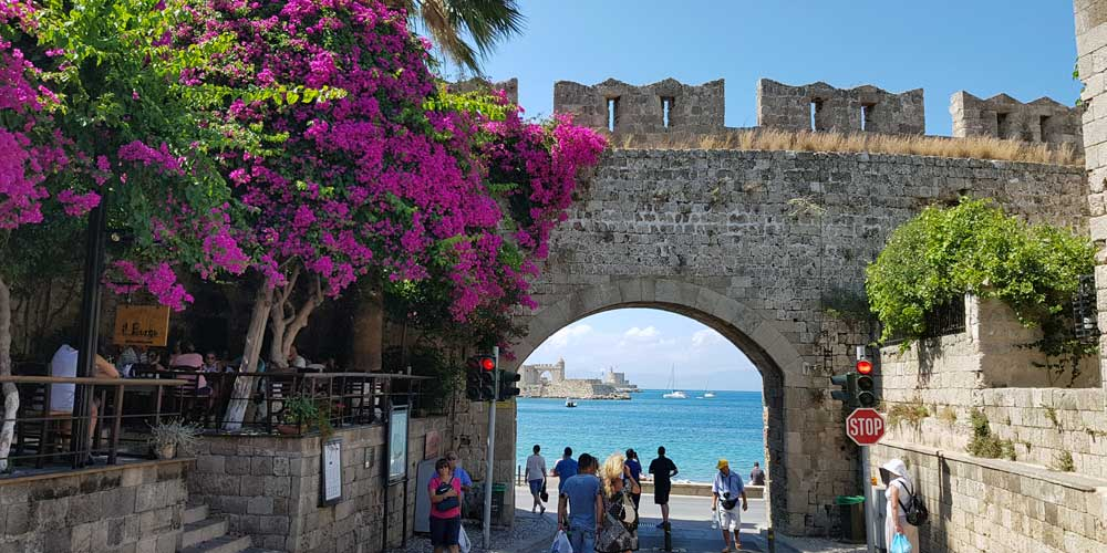 Shows Rhodes Town castle walls - Lindos day-trips