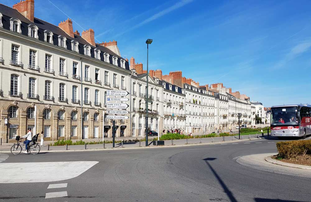 Sightseeing in Nantes - shows a neat row of French houses