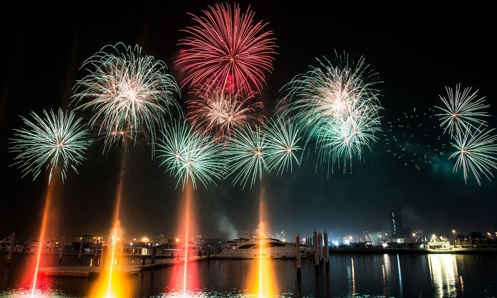 Shows a fireworks display in Dubai - Where to go for new years eve