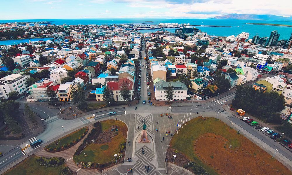 Shows the colourful houses of Reykjavik, Iceland - New Years Eve holiday ideas