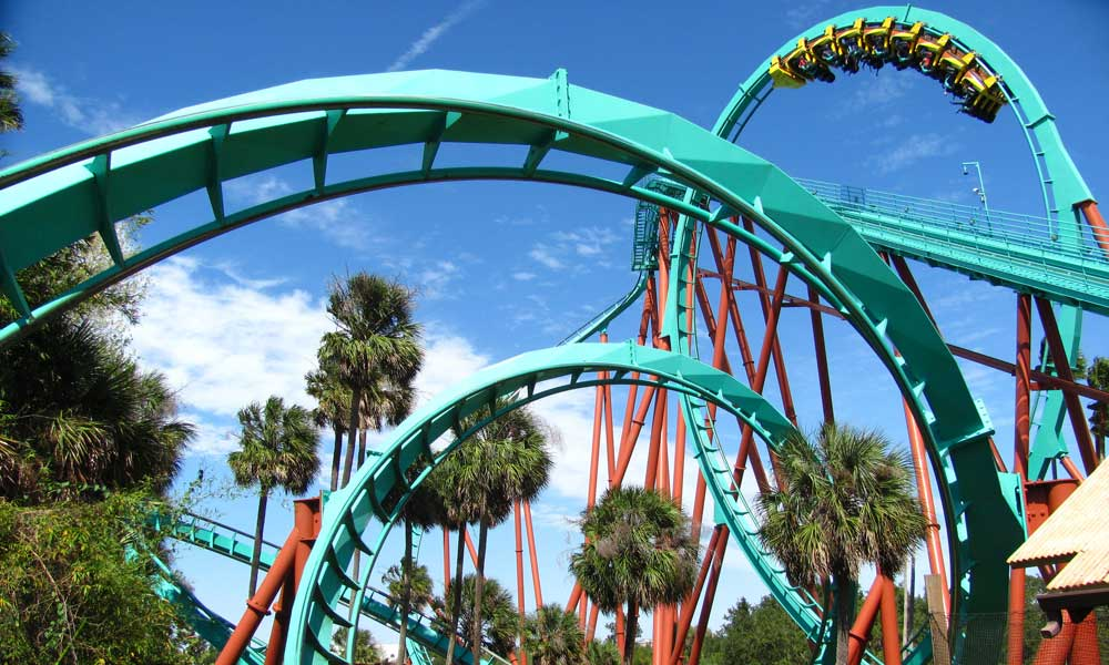 Depicts Busch Gardens rollercoaster