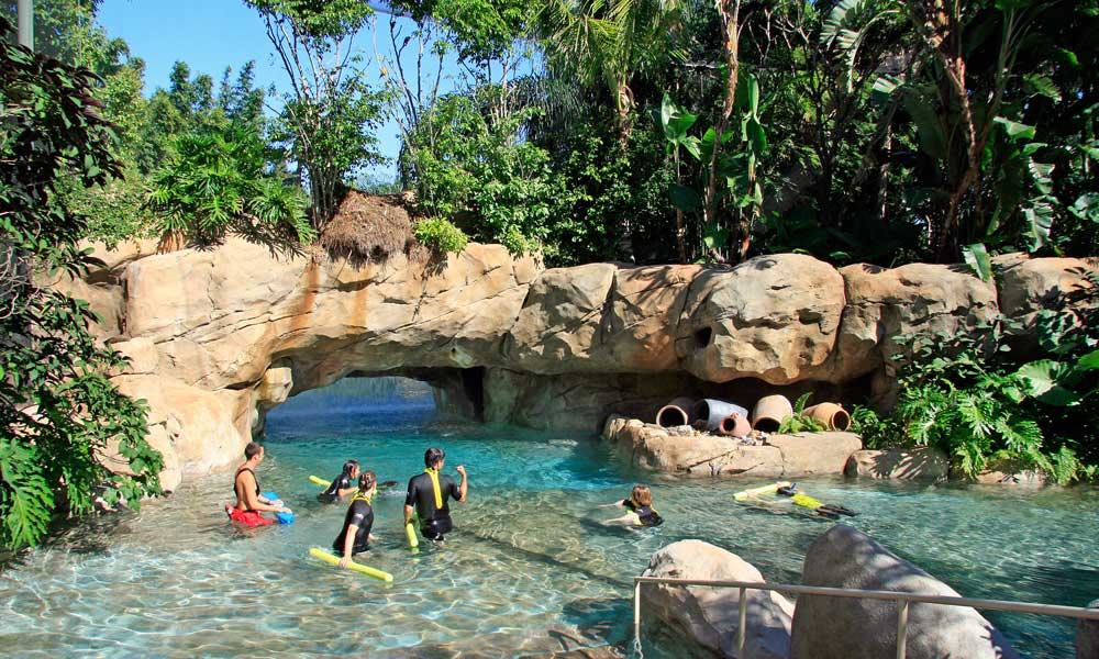 Shows Discovery Cove lagoon