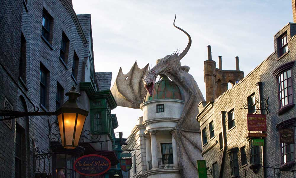 Top tips for planning an Orlando holiday - depicts Universal Studios dragon on building