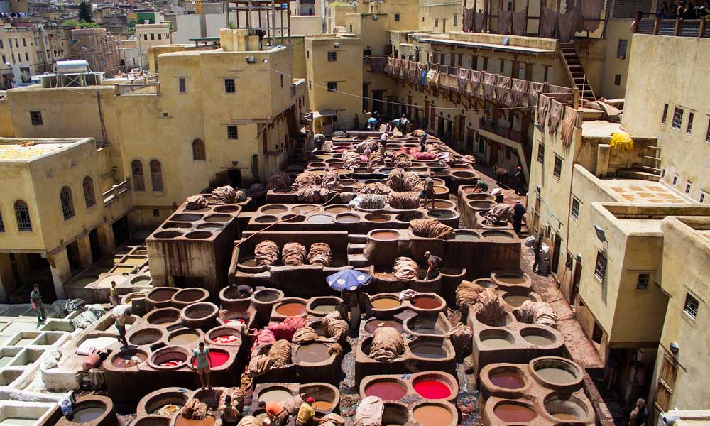 Fes Medina from above with colourful buildings and crafts