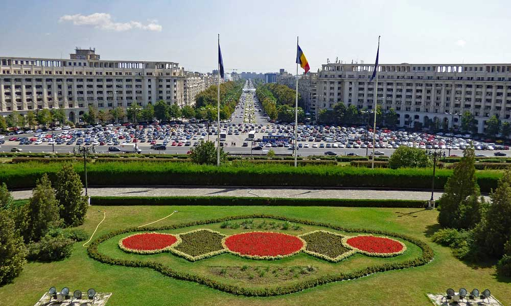 Depicts Bucharest city centre and gardens, Romania