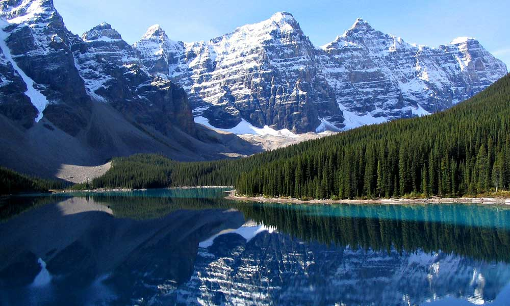 Depicts Banff National Park lake in Canada