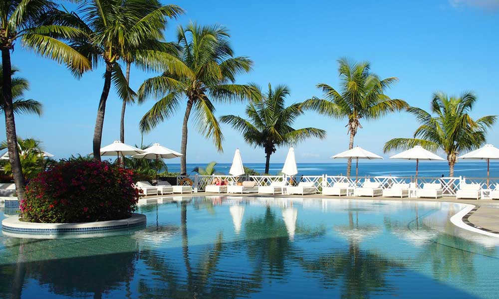 Where to go on holiday in May - Mauritius pool view