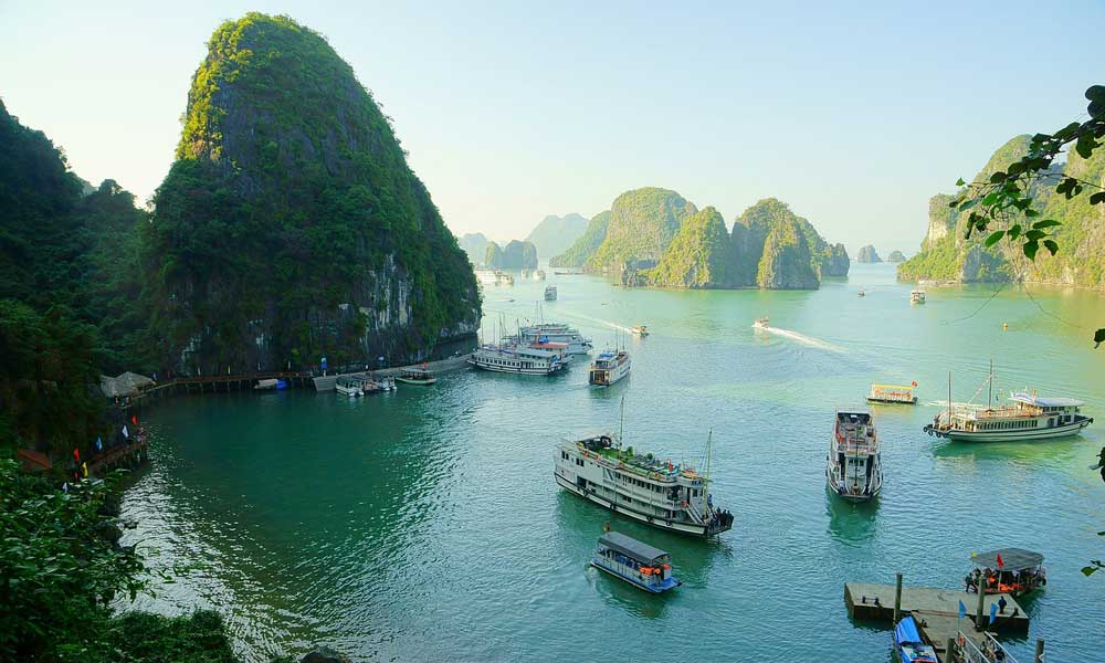 Vietnam May holiday inspiration - depicts Halong Bay cliffs
