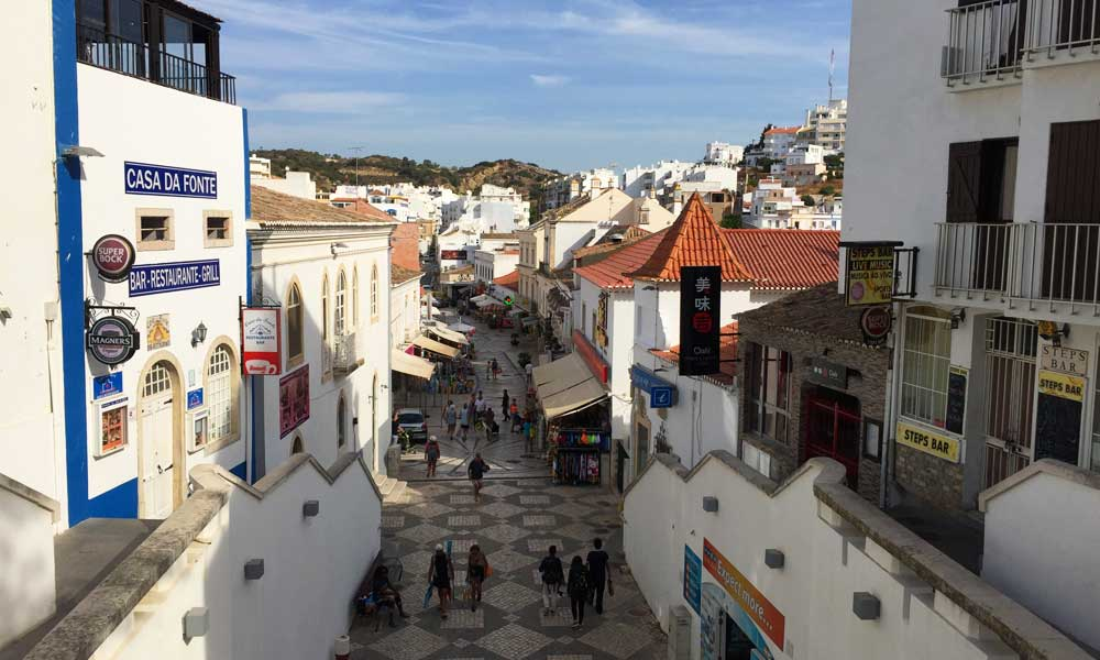 Depicts Albufeira Old Town streets and buildings - Albufeira Travel Guide