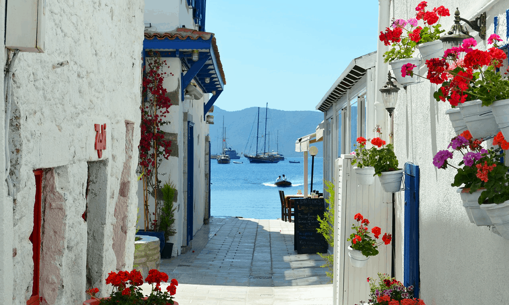 Depicts streets of Bodrum, Turkey - cheap beach holiday