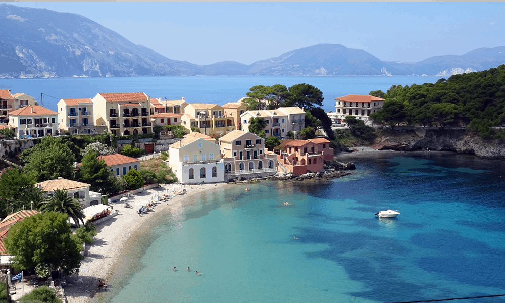 Depicts Kefalonia beach - cheapest Greek island holiday