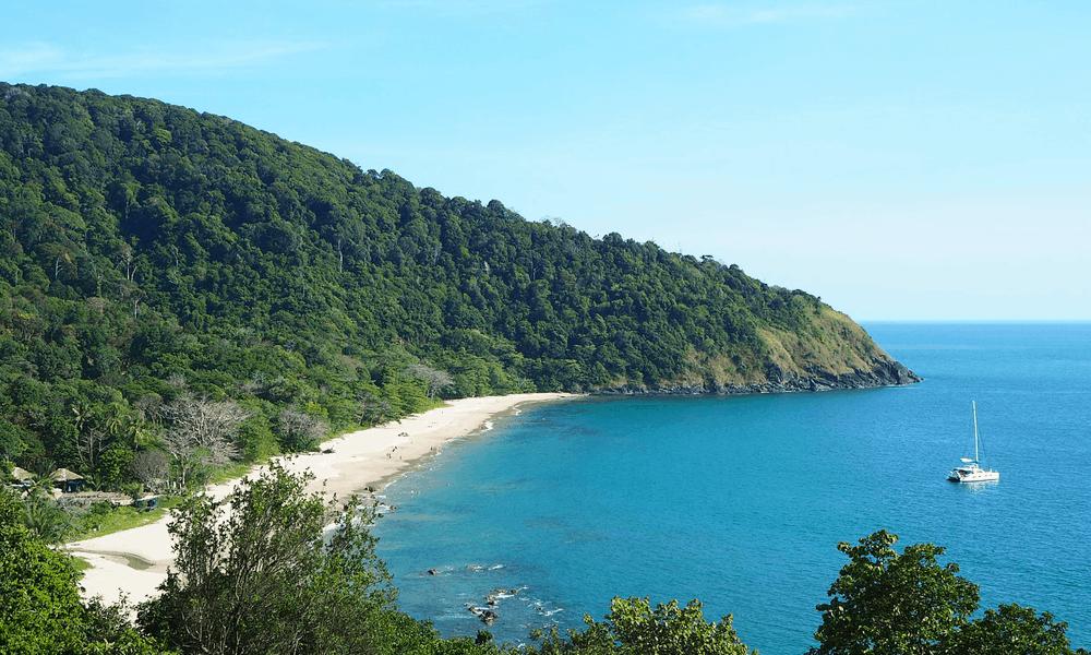 Depicts Ko Lanta coastline in Thailand