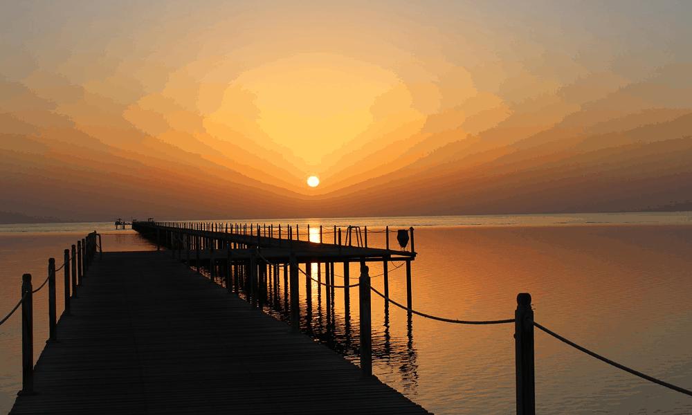 Depicts sunset on Marsa Alam beach, Egypt - cheap Egypt resort