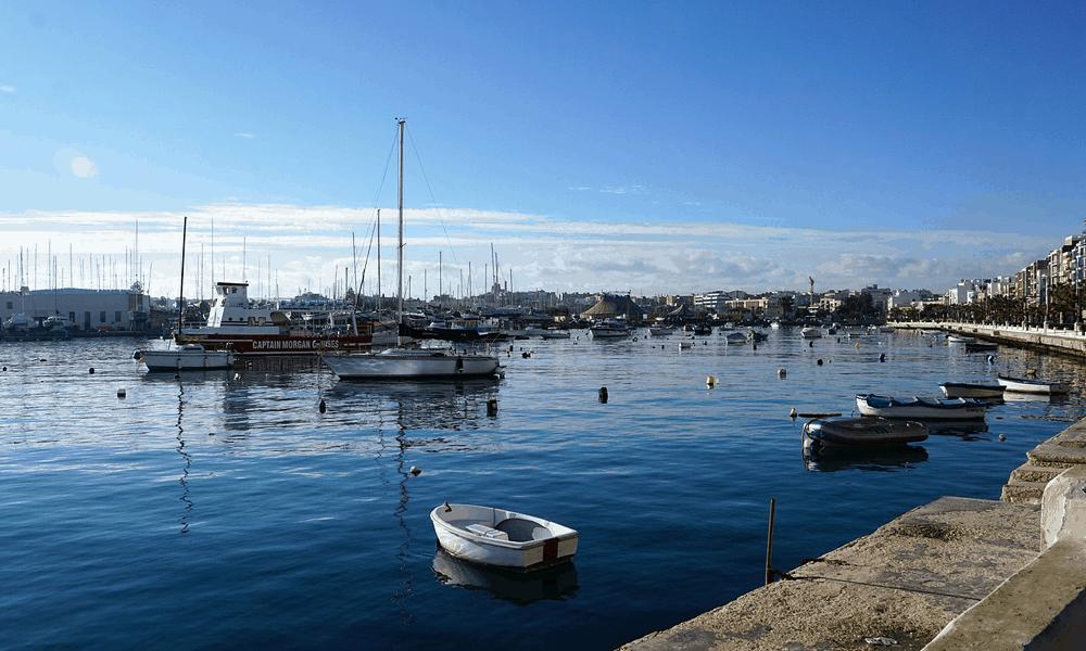 Depicts Sliema Promenade in Malta - Cheapest beach holiday destinations