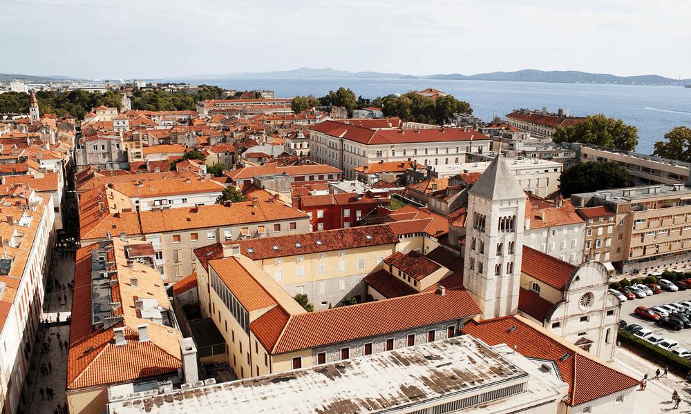 Depicts Zadar town in Croatia - cheap Croatia holiday