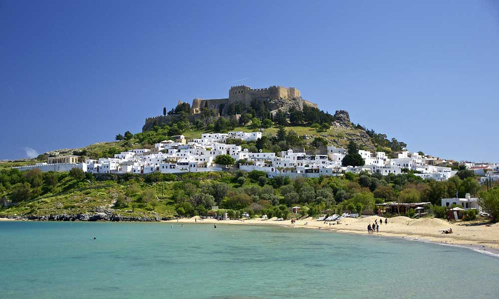 Getting to Lindos from the airport - Shows Lindos beach and Acropolis - Lindos travel guide