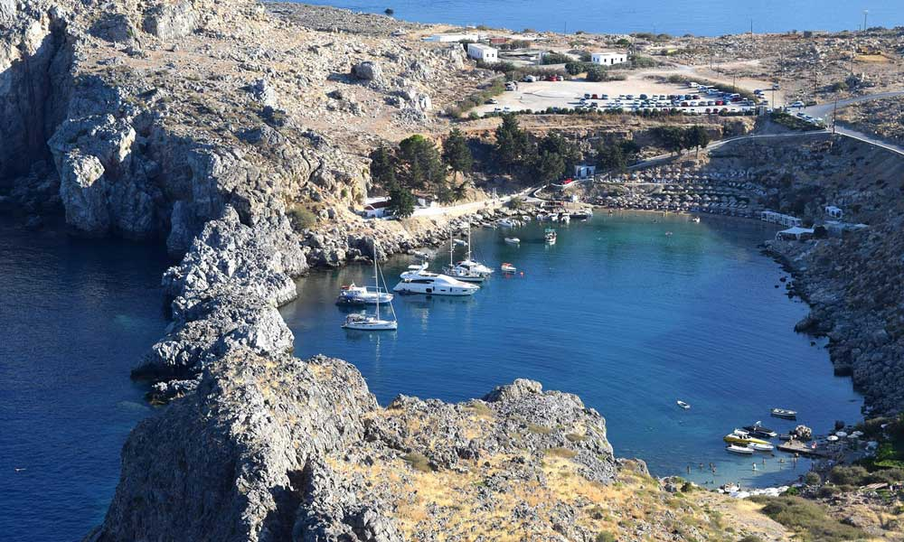 Things to do in Lindos - Shows St Pauls marina and bay - Lindos travel guide