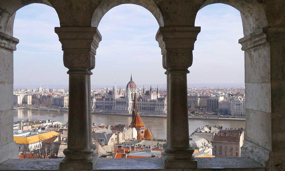 Shows river view in Budapest - Cheap August city break ideas