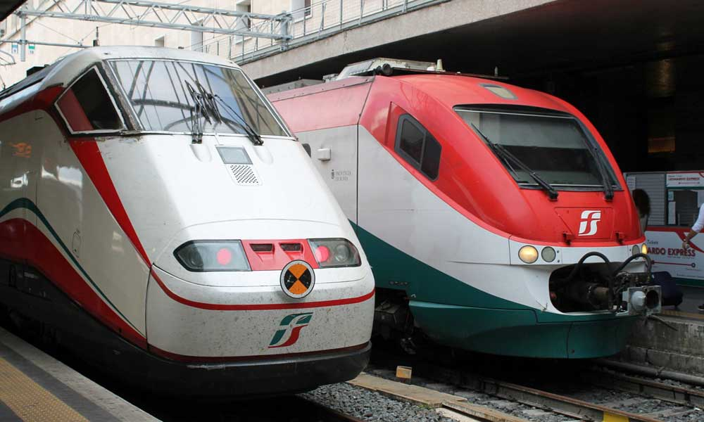 Rome visitors tips - shows Leonardo Express train at Rome airport