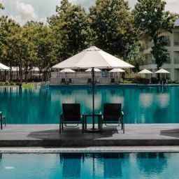 Rome hotels with a pool - shows swimming pool with sun loungers