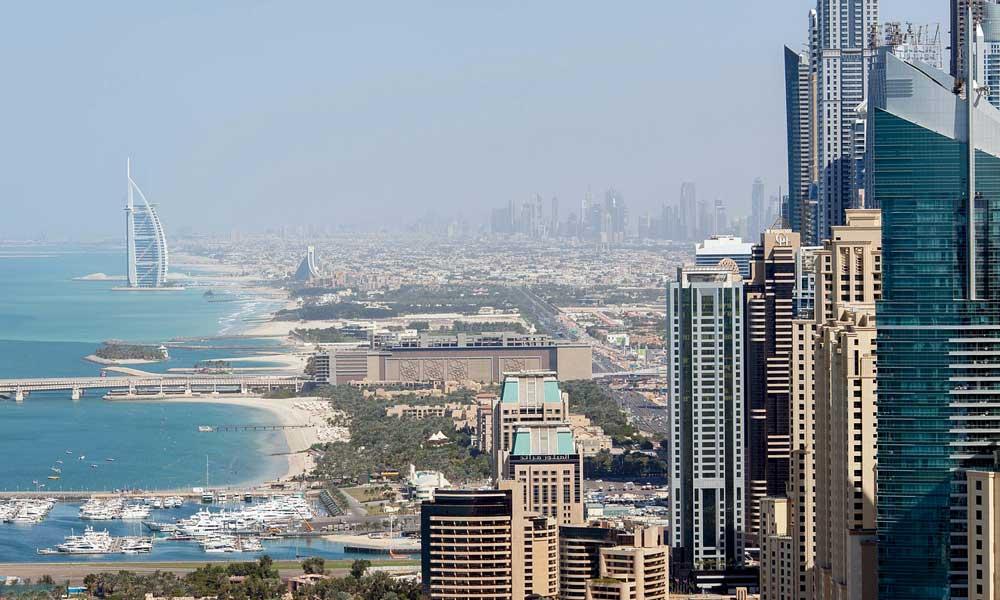 Shows Dubai cityscape
