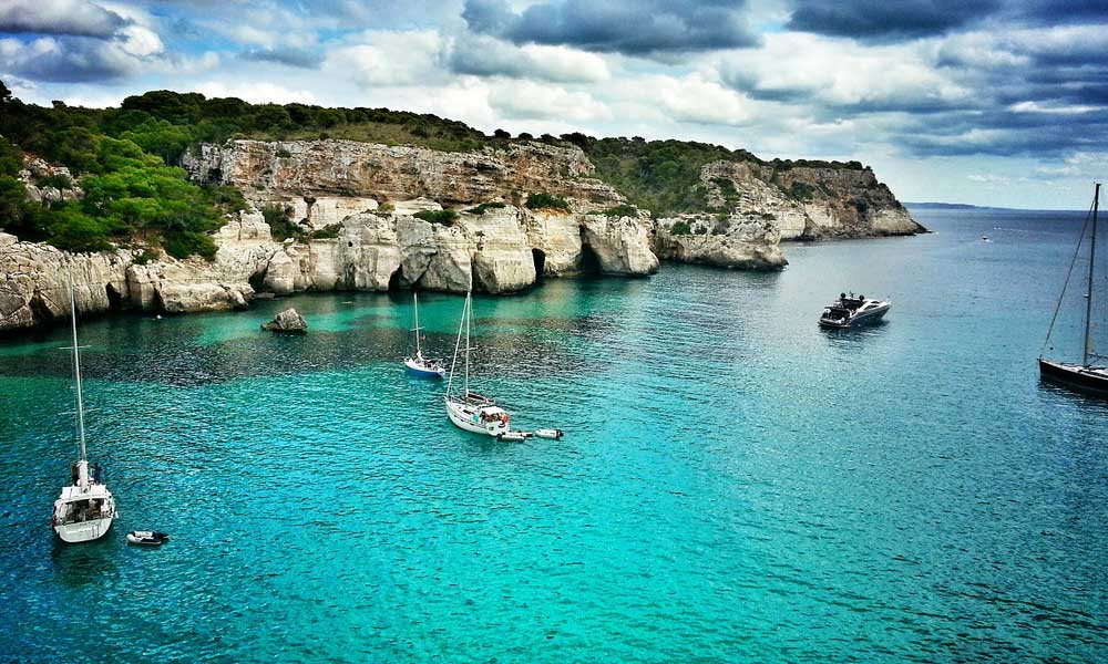 Shows bay by the sea in Menorca