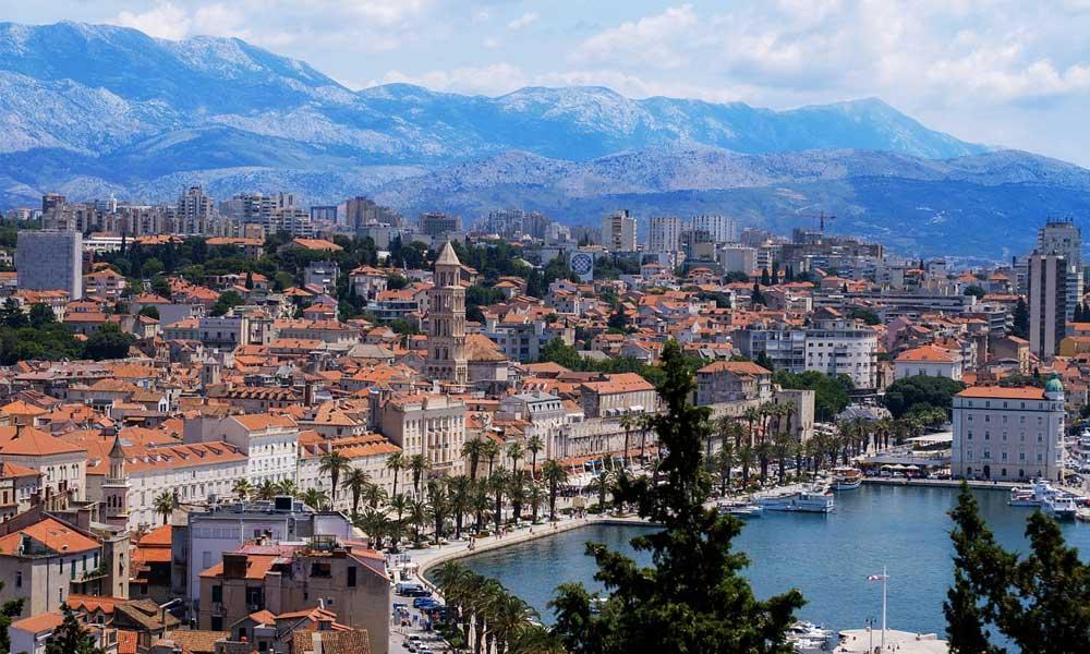 Shows Split city centre from afar - Split travel guide